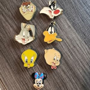 6 Looney Tunes ButtonCovers &Minnie Mouse Jewelry